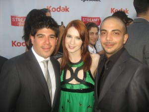 Rodrigo Lopez Aldana and Luis Bernal Salazar with The Guild's Felicia Day